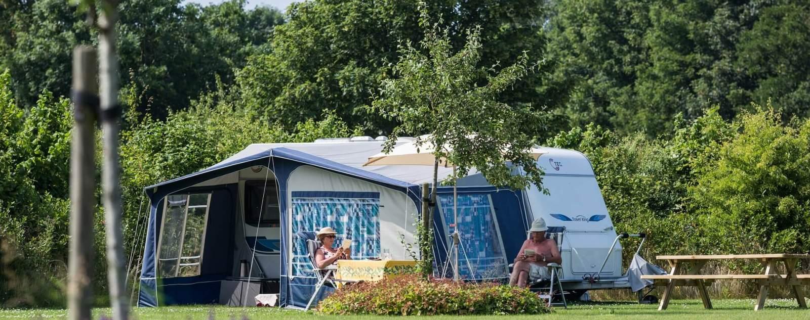 camping familial avec une tente et un plan de lavande